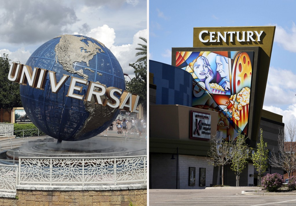 This combination photo shows the Universal Studios globe on Aug. 5, 2019, in Orlando, Fla., left, and the Cinemark Century 16 movie theater in Aurora,...