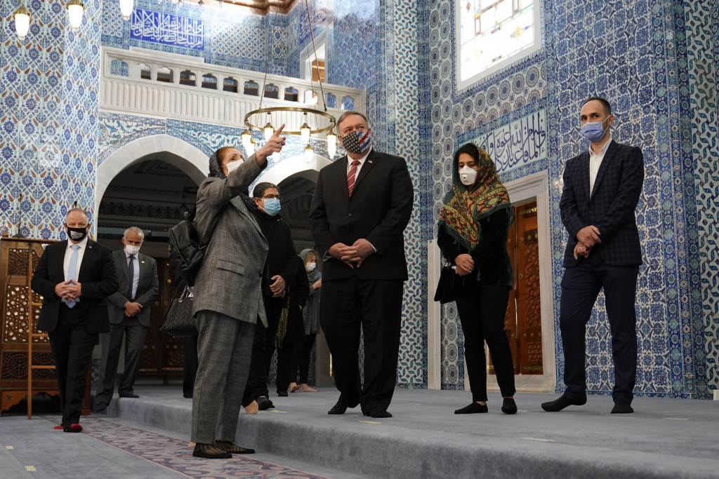 Secretary of State Mike Pompeo tours the Rustem Pasha Mosque in Istanbul, Tuesday, Nov. 17, 2020. Pompeo's stop in Turkey is focused on promoting reli...