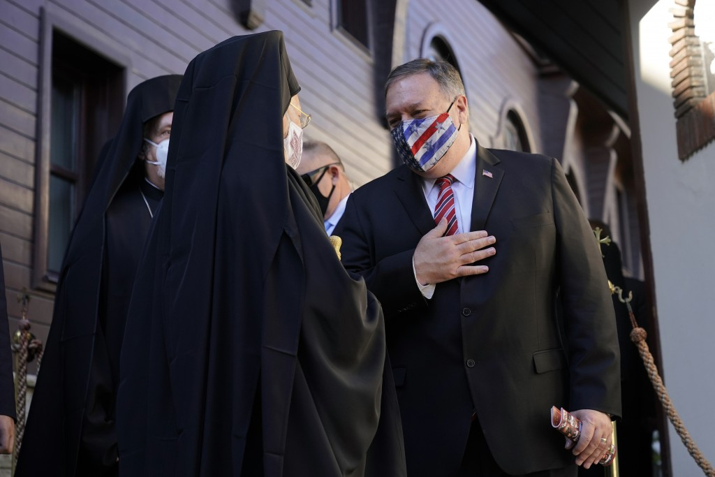 Secretary of State Mike Pompeo speaks with Ecumenical Patriarch Bartholomew I, the spiritual leader of the world's Orthodox Christians, as he departs ...