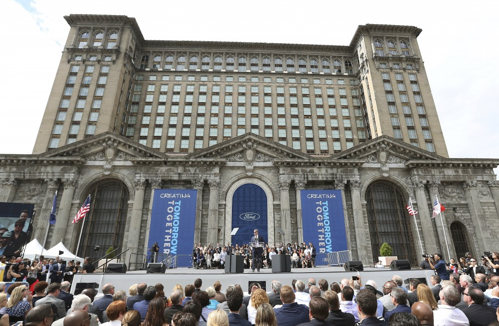 FILE - In this June 19, 2018, file photo, Ford Motor Co., Executive Chairman Bill Ford addresses attendees outside the Michigan Central Train Depot, i...