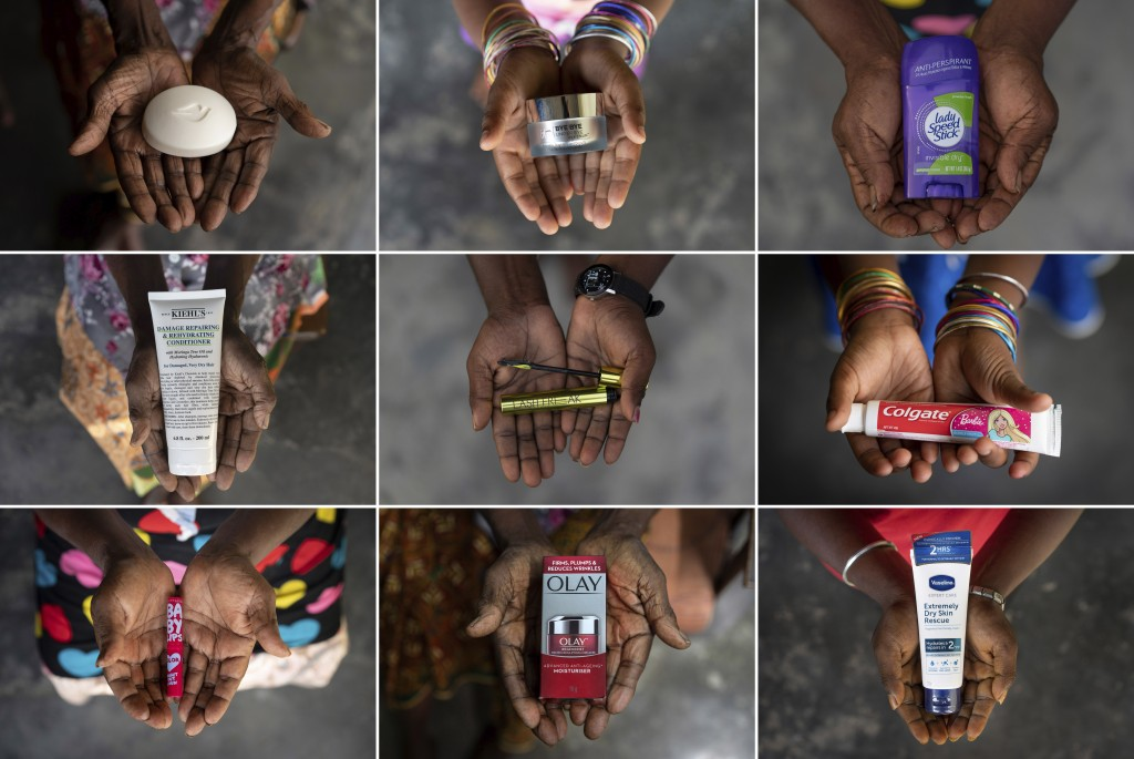 This combination of November 2020 photos shows the hands of five generations of women from a family that has worked on the same palm oil plantation si...
