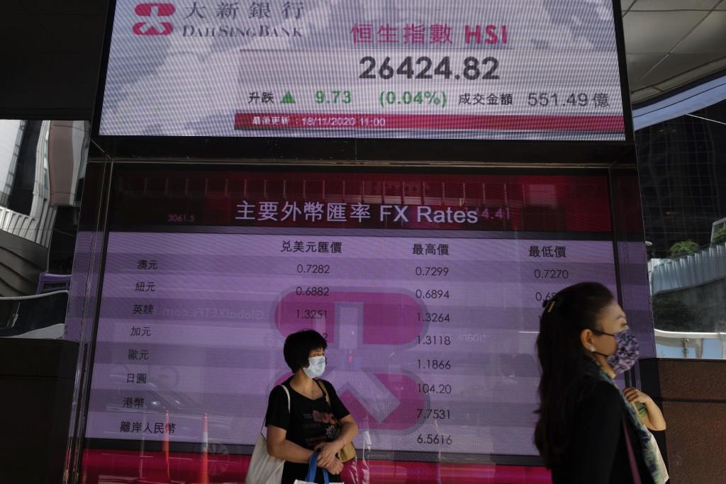 People walk past a bank's electronic board showing the Hong Kong share index at Hong Kong Stock Exchange Tuesday, Nov. 18, 2020.  Asian stock markets ...