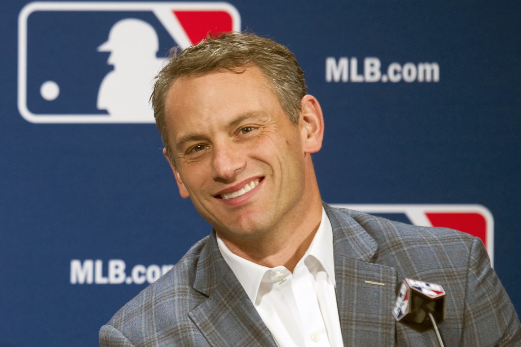 FILE - In this Dec. 7, 2016, file photo, Chicago Cubs general manager Jed Hoyer smiles during a press conference in Oxon Hill, Md. Theo Epstein, who t...