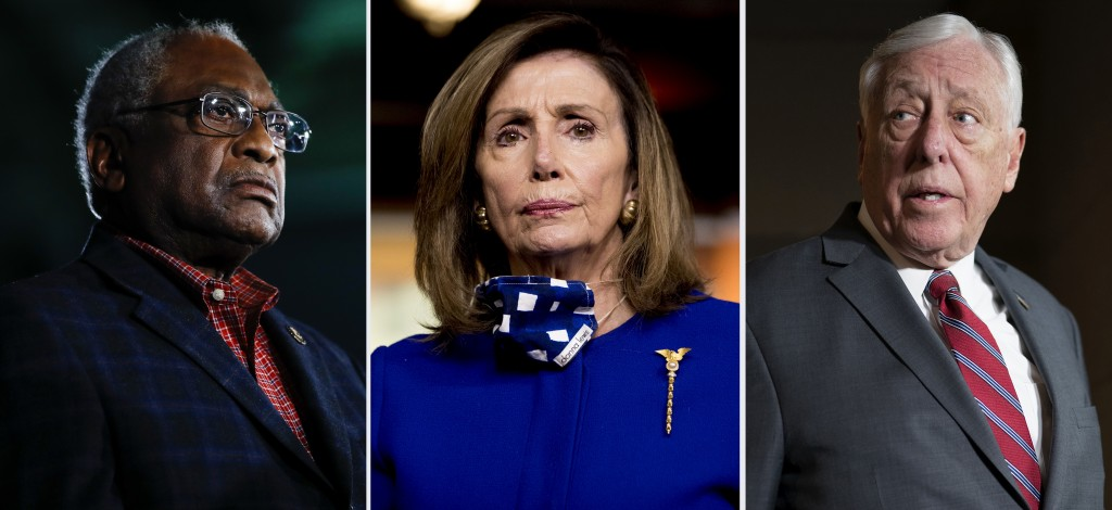 This combination of file photos shows from left, Rep. James Clyburn, D-S.C. on Feb. 29, 2020, in Columbia, S.C., House Speaker Nancy Pelosi of Calif.,...