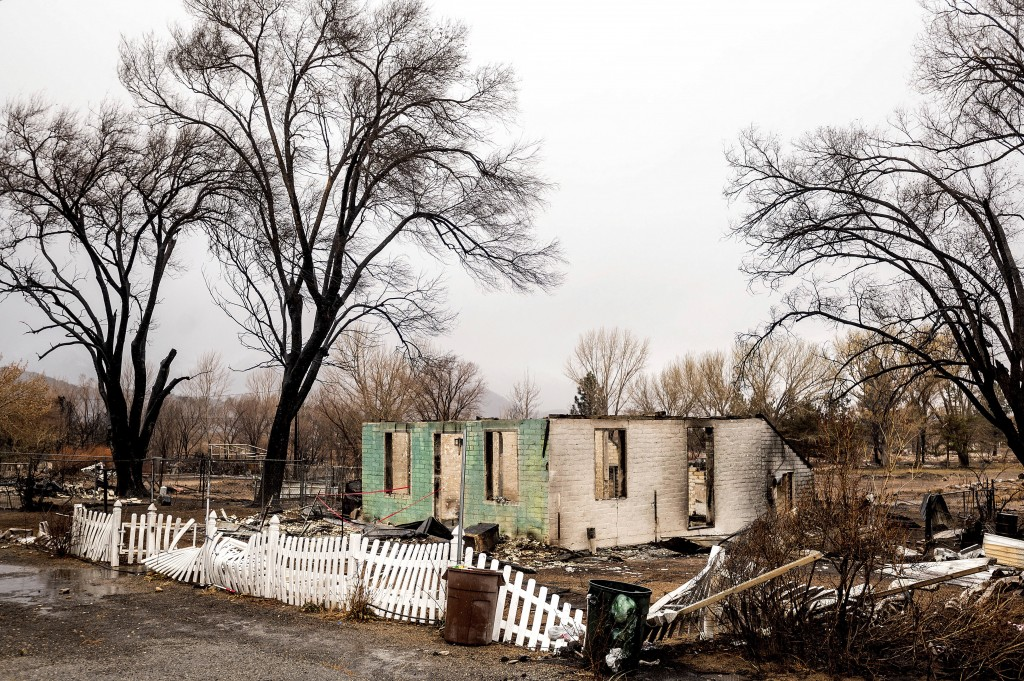 A scorched home rests in a clearing after the Mountain View Fire tore through the Walker community in Mono County, Calif., Wednesday, Nov. 18, 2020. (...
