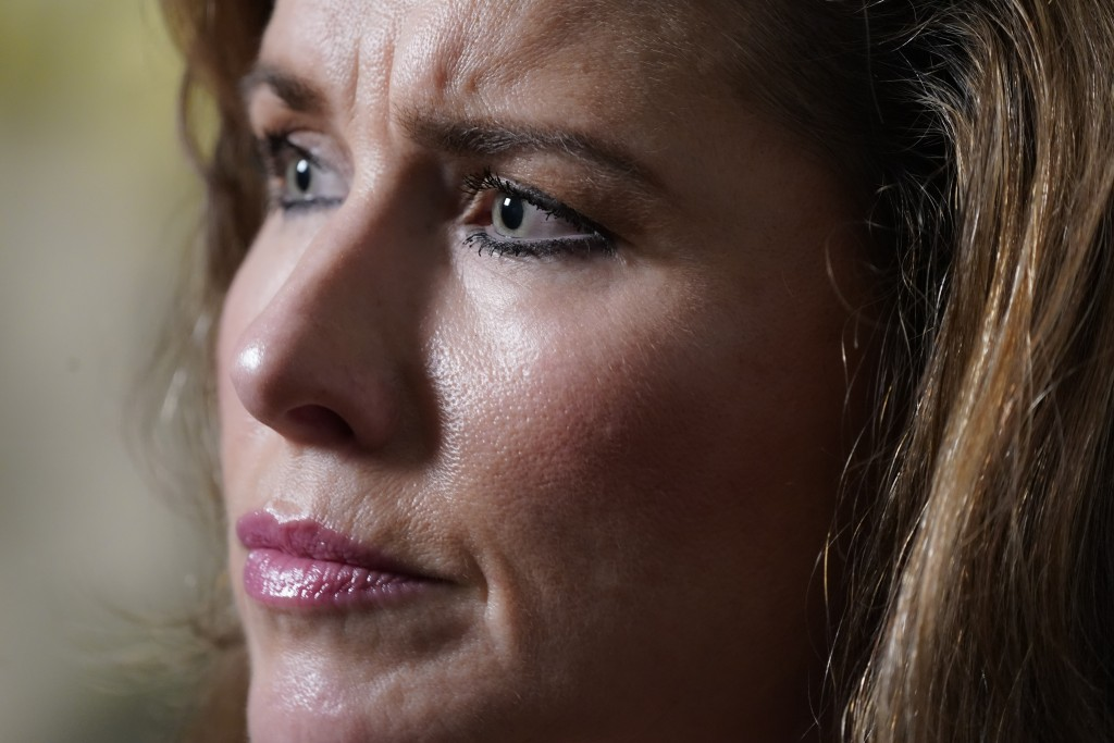 Dawn Best responds to questions about her mother, Carolyn Best, during a news interview, Thursday, Nov. 12, 2020, in Wantaugh, N.Y. Best says her moth...