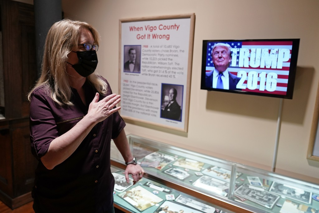 Susan Tingley, the executive director of the Vigo County Historical Museum, talks about the history of voting in Vigo County as she stands by a displa...