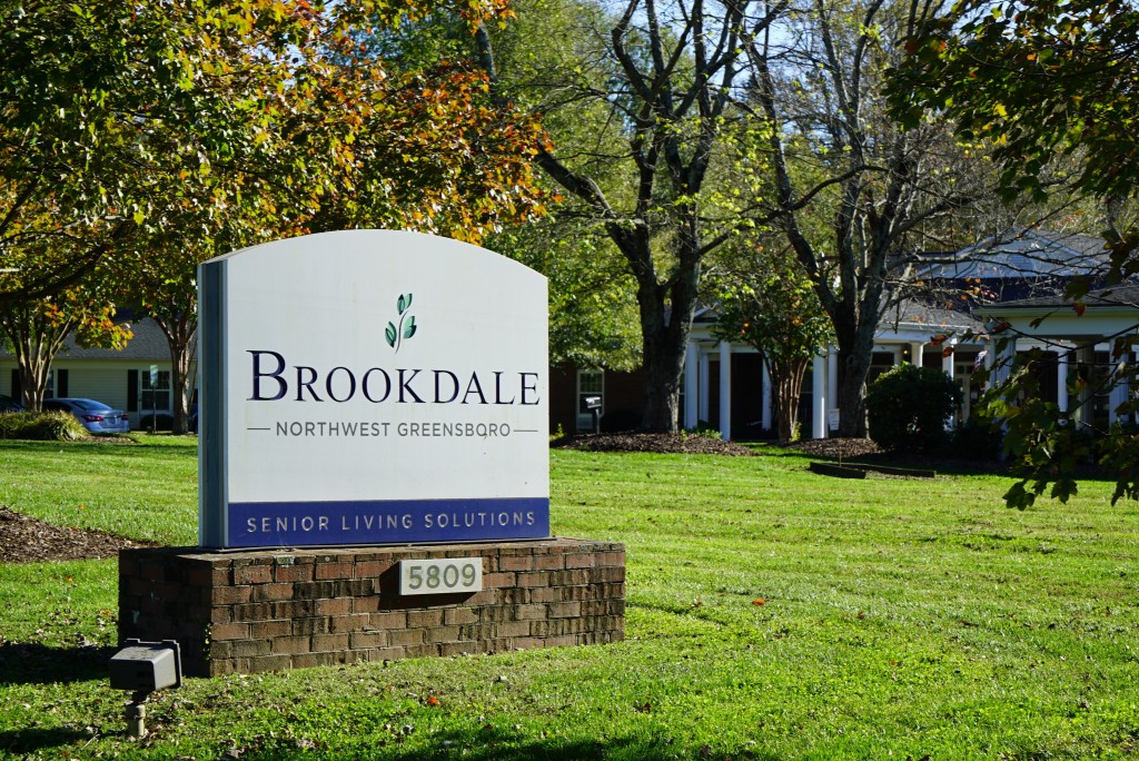 A bright autumn sun shines outside the Brookdale Northwest assisted-living facility in Greensboro, N.C., on Wednesday, Nov. 4, 2020. Army veteran Alex...