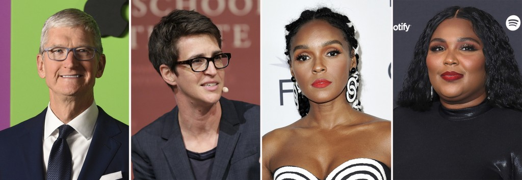 This combination photo shows Apple CEO Tim Cook, from left, MSNBC's Rachel Maddow and singers Janelle Monae and Lizzo. Pride Media announced Thursday,...
