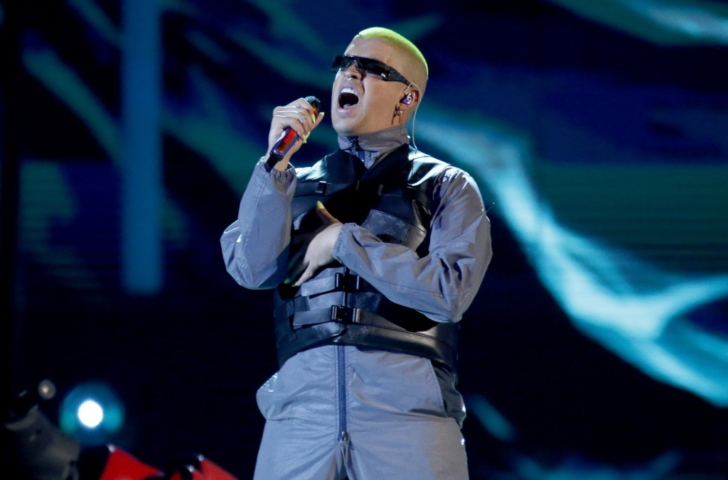 FILE - Bad Bunny performs a medley at the Billboard Latin Music Awards in Las Vegas on April 25, 2019. Bad Bunny, who has nine nominations at the 2020...