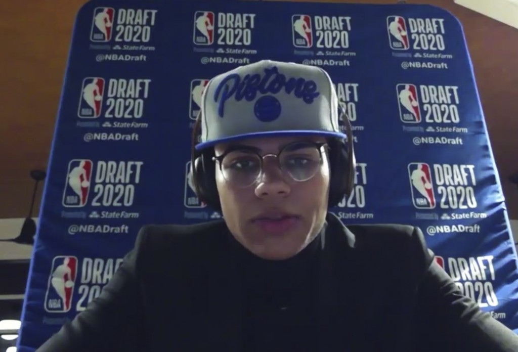 Killian Hayes talks to reporters after being chosen by the Detroit Pistons during the NBA basketball draft, Wednesday, Nov. 18, 2020. (Courtesy NBA vi...