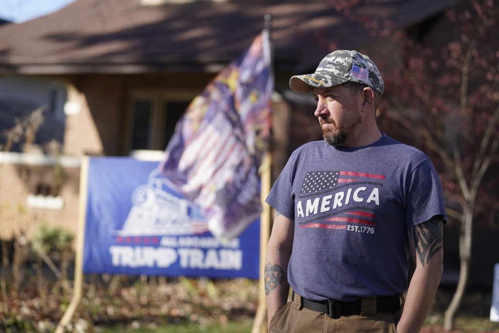 Craig Rudisel, a supporter of President Donald Trump, speaks about Vigo County voting, Wednesday, Nov. 11, 2020, in Terre Haute, Ind. Rudisel supports...