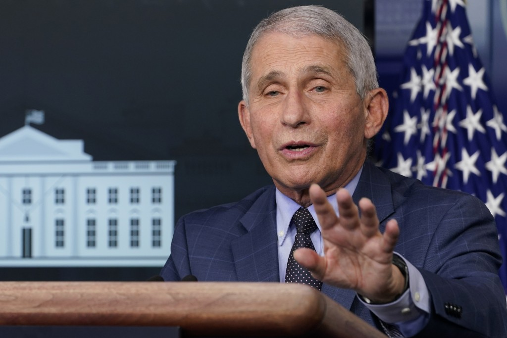 Dr. Anthony Fauci, director of the National Institute for Allergy and Infectious Diseases, speaks during a news conference with the coronavirus task f...