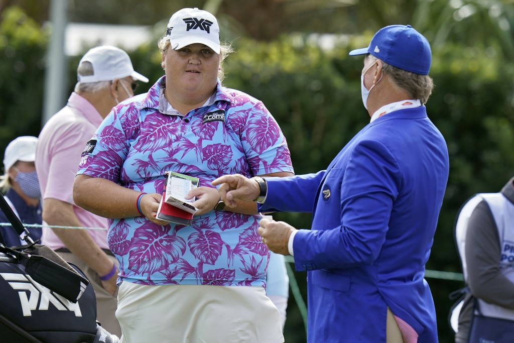 Haley Moore talks to the starter on the first hole during the first round of the LPGA Pelican Women's Championship golf tournament Thursday, Nov. 19, ...