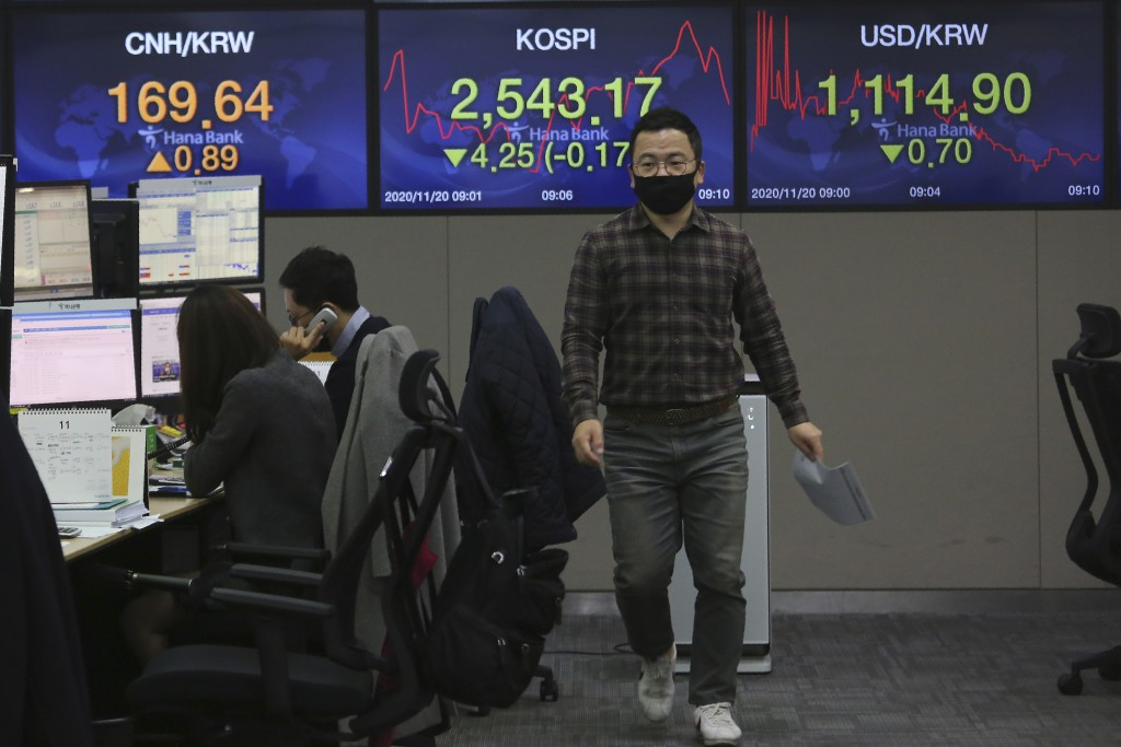 A currency trader passes by screens showing the Korea Composite Stock Price Index (KOSPI), center, and the exchange rate of South Korean won against t...