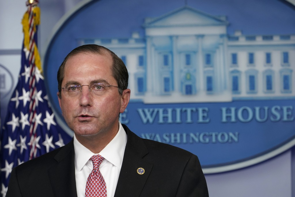 Health and Human Services Secretary Alex Azar speaks during a news conference with the coronavirus task force at the White House in Washington, Thursd...