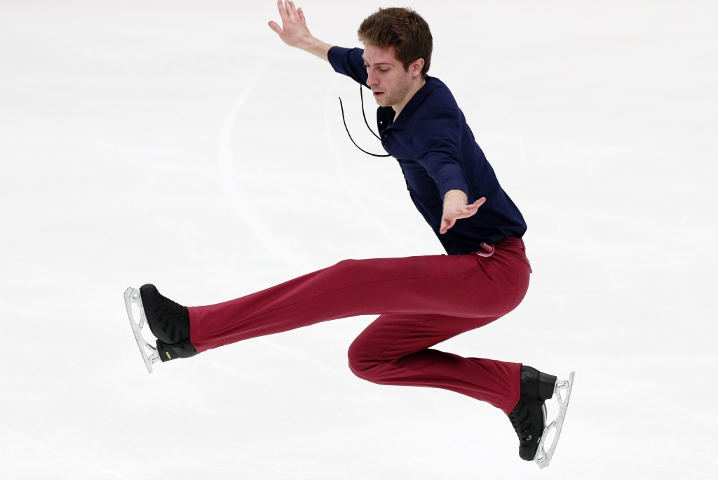 Georgia's Morisi Kvitelashvili performs in the men's short program during the ISU Grand Prix of Figure Skating- Rostelecom Cup in Moscow, Russia, Frid...