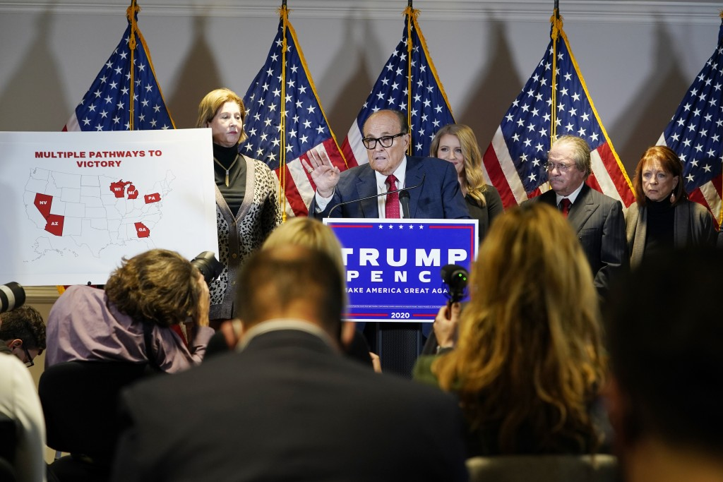 Former Mayor of New York Rudy Giuliani, a lawyer for President Donald Trump, speaks during a news conference at the Republican National Committee head...