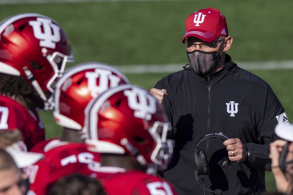 FILE - In this Saturday, Nov. 7, 2020, file photo, Indiana head coach Tom Allen looks towards his players on the sideline during a break in the second...