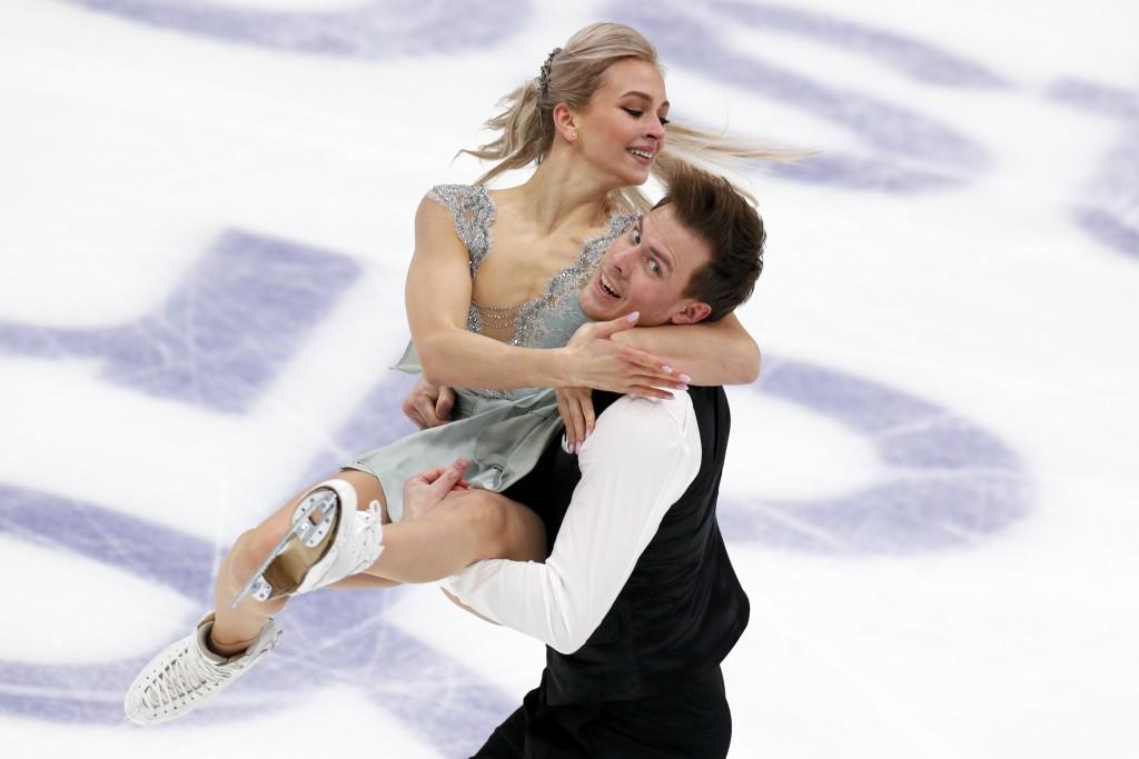 Russia's Victoria Sinitsina and Nikita Katsalapov perform in the ice dance, rhythm dance program during the ISU Grand Prix of Figure Skating- Rostelec...