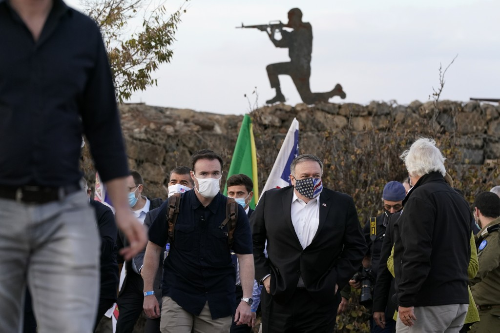 Secretary of State Mike Pompeo departs a security briefing on Mount Bental in the Israeli-controlled Golan Heights, near the Israeli-Syrian border, Th...