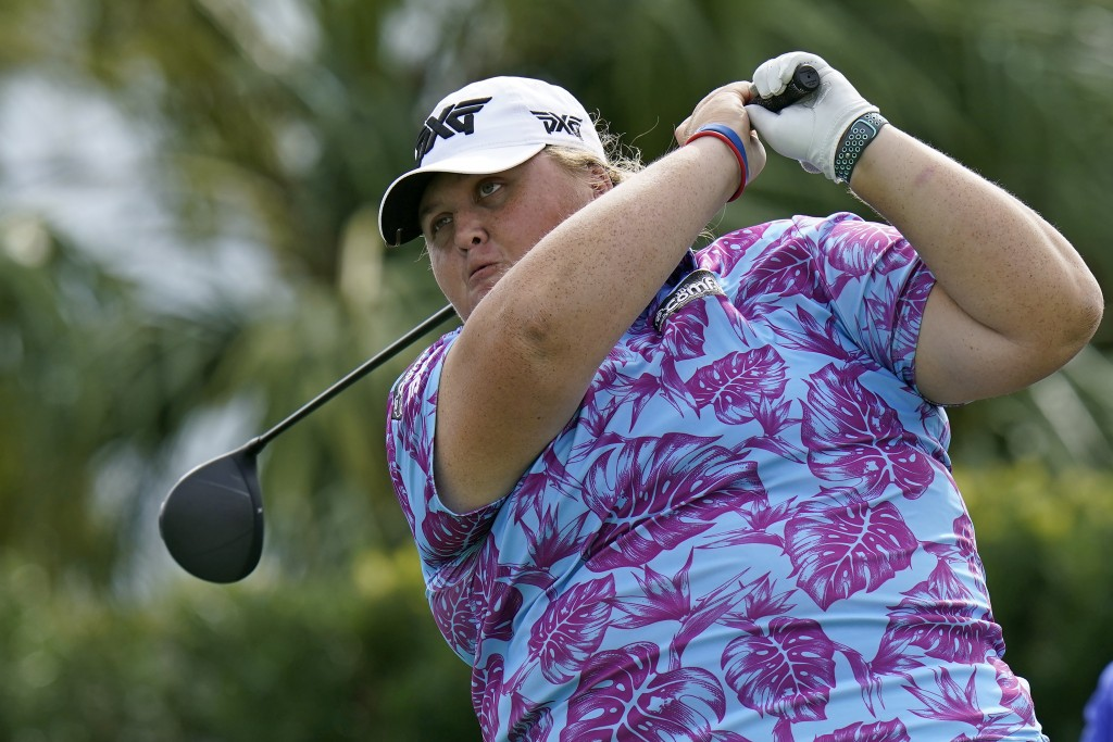 Haley Moore tees off on the first hole during the first round of the LPGA Pelican Women's Championship golf tournament Thursday, Nov. 19, 2020, in Bel...