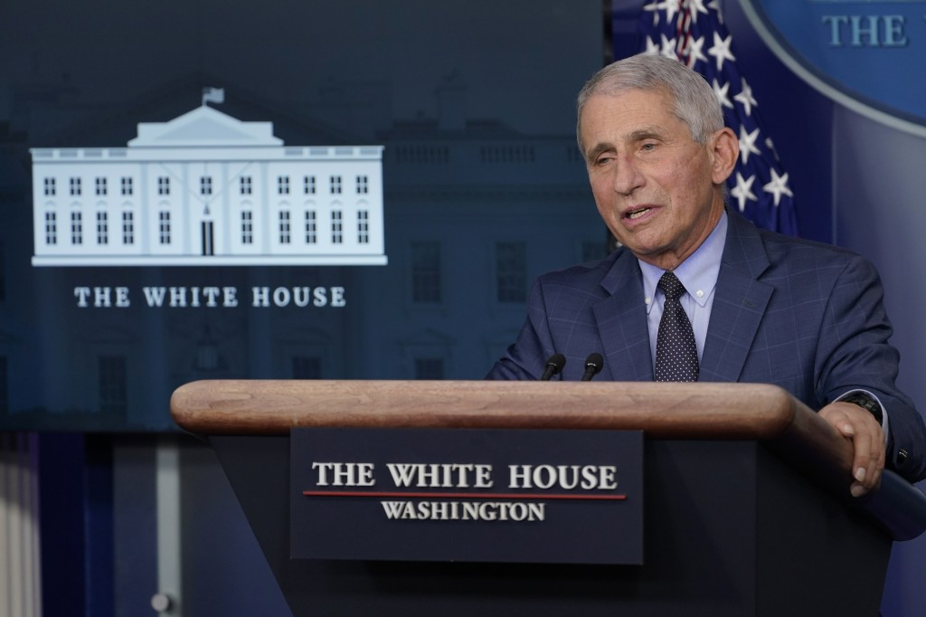 Dr. Anthony Fauci, director of the National Institute of Allergy and Infectious Diseases, speaks during a briefing with the coronavirus task force at ...