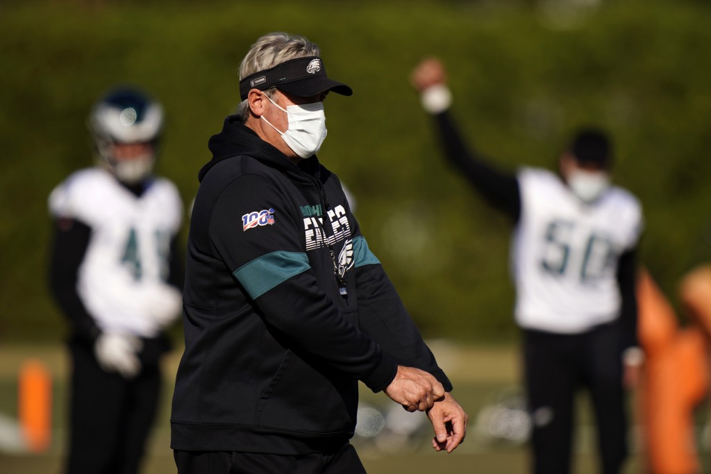 Philadelphia Eagles' Doug Pederson walks the field during practice at the NFL football team's training facility, Thursday, Nov. 19, 2020, in Philadelp...