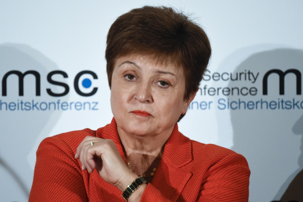 FILE - In this Feb. 14, 2020, file photo, Kristalina Georgieva, Managing Director of the International Monetary Fund, attends a session on the first d...