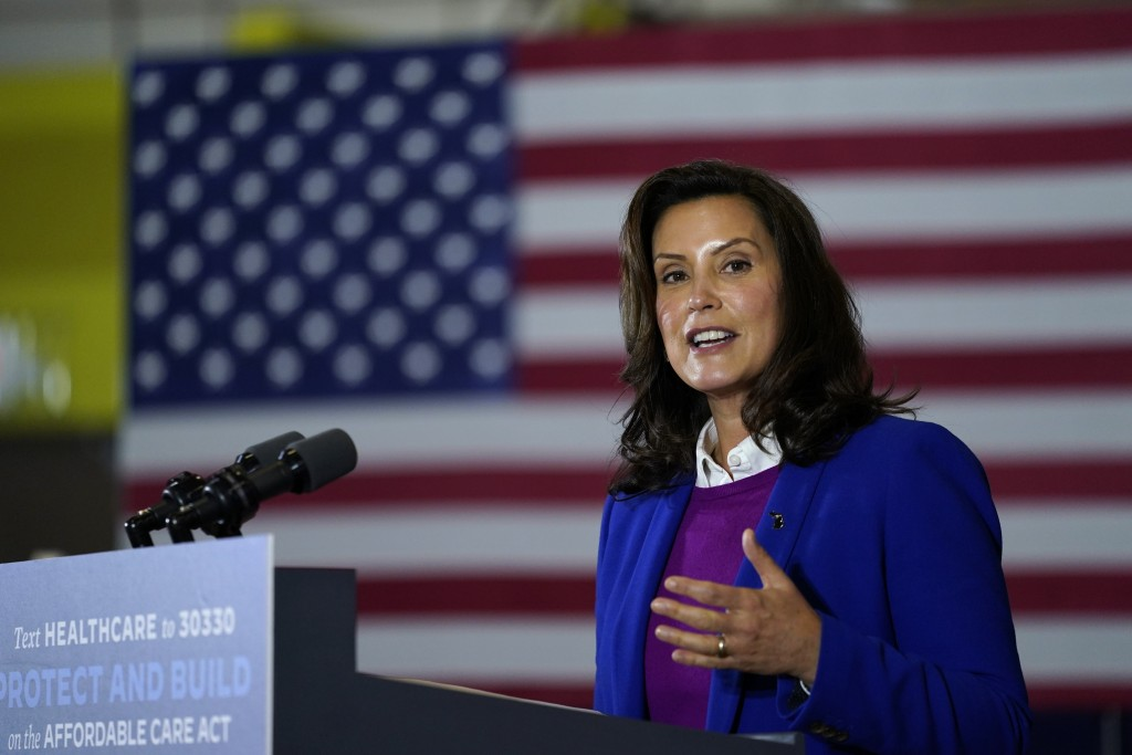 FILE - In this Friday, Oct. 16, 2020 file photo, Michigan Gov. Gretchen Whitmer speaks during an event with Democratic presidential candidate former V...