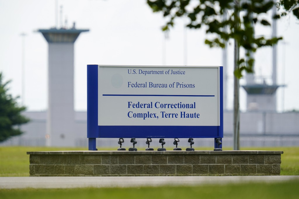 FILE - This Aug. 28, 2020, file photo shows the federal prison complex in Terre Haute, Ind. The Justice Department has scheduled three more federal ex...