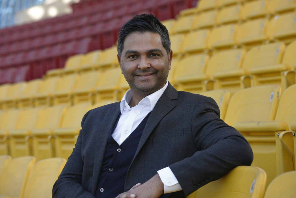 In this Nov. 20, 2020, photo, Chief Executive of the Pakistan Cricket Board Wasim Khan poses for a photo after an interview with The Associated Press,...