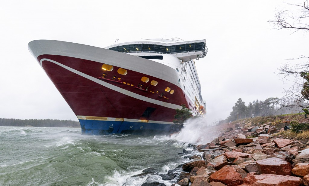 A view of the Viking Line cruise ship Viking Grace, run aground with passengers on board, south of Mariehamn, Finland, Saturday, Nov. 21, 2020. A Balt...