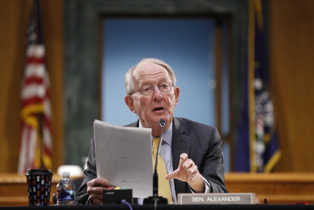 FILE - In this May 7, 2020 file photo, Chairman Sen. Lamar Alexander, R-Tenn., gives his opening statement during a Senate Health Education Labor and ...