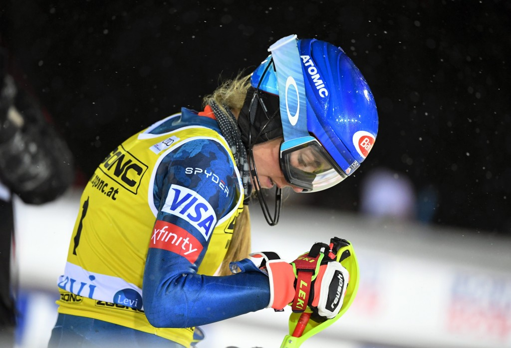 Mikaela Shiffrin of the United States arrives at the finish area to take the second place at the alpine ski, women's World Cup slalom in Levi, Finland...