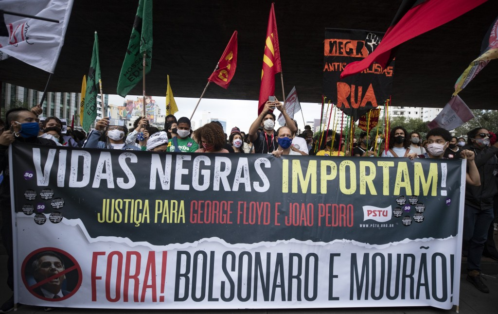 Activists including members of Black Lives Matter march against the murder of Black man Joao Alberto Silveira Freitas at a Carrefour supermarket the n...