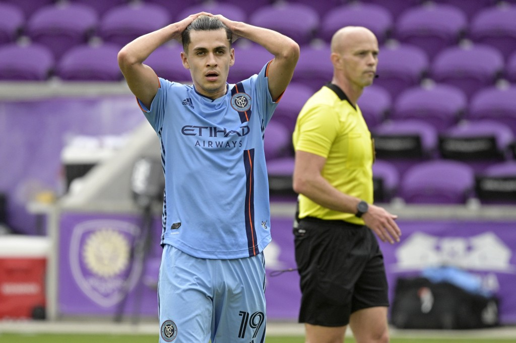 New York City FC forward Jesus Medina (19) reacts after missing a shot on goal during the second half of an MLS soccer playoff match against Orlando C...