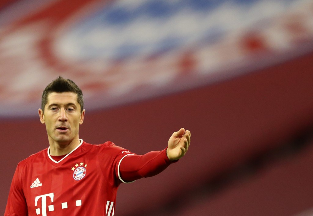Bayern's Robert Lewandowski reacts during the German Bundesliga soccer match between FC Bayern Munich and SV Werder Bremen in Munich, Germany, Saturda...
