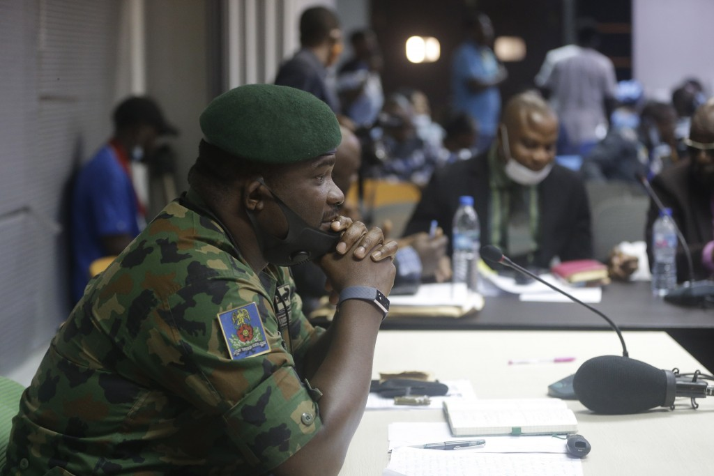 In this photo taken on Saturday Nov. 14, 2020. Brig. Gen. Ahmed Taiwo, Commander of the 81 Military Intelligence Brigade, pauses as he speaks to a jud...