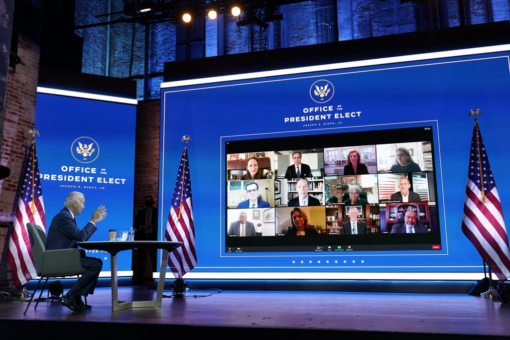 FILE - In this Nov. 17, 2020, file photo President-elect Joe Biden attends a national security briefing at The Queen theater in Wilmington, Del. (AP P...