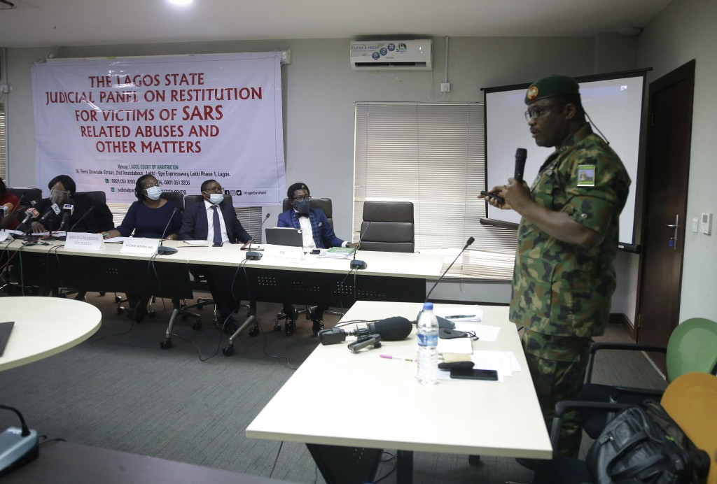 In this photo taken on Saturday Nov. 14, 2020. Brig. Gen. Ahmed Taiwo, Commander of the 81 Military Intelligence Brigade, speaks to a judicial committ...