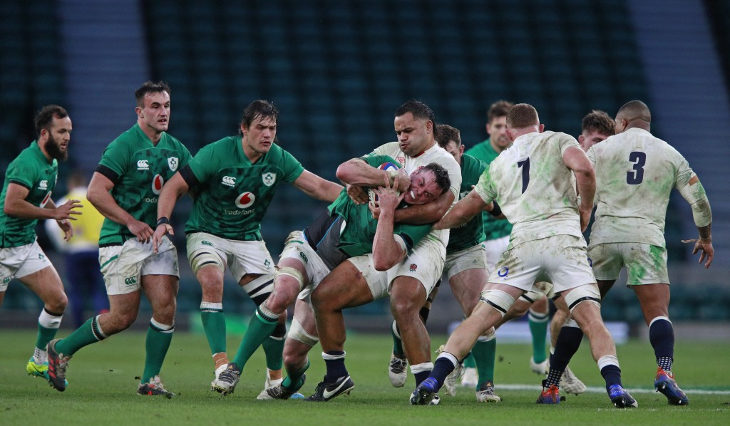Ireland's James Ryan is tackled by England's Billy Vunipola during the Autumn Nations Cup rugby union international match between England and Ireland ...
