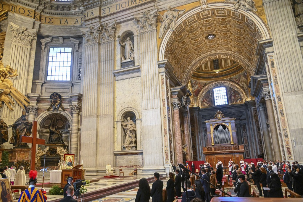 Pope Francis celebrates Mass on the occasion of the Christ the King festivity, in St. Peter's Basilica at the Vatican, Sunday, Nov. 22, 2020. At the e...