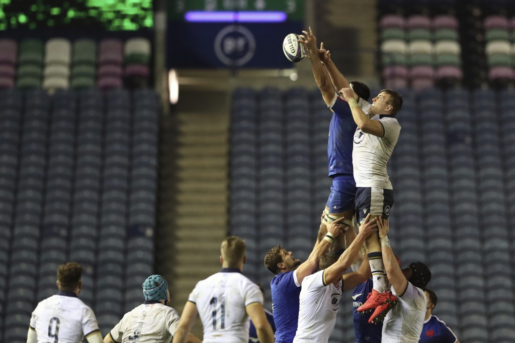 France's Dylan Cretin and Scotland's Matt Fagerson jump for the ball during the Autumn Nations Cup rugby union international match between Scotland an...