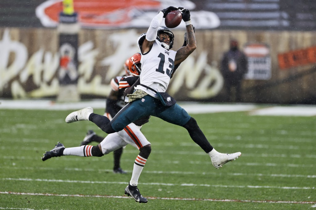 Philadelphia Eagles wide receiver Travis Fulgham (13) catches a pass during the second half of an NFL football game against the Cleveland Browns, Sund...