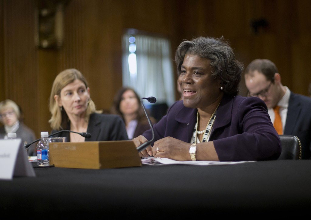 FILE - In this Jan. 9, 2014, file photo Assistant Secretary of State for African Affairs Linda Thomas-Greenfield, right, testifies during a Senate For...