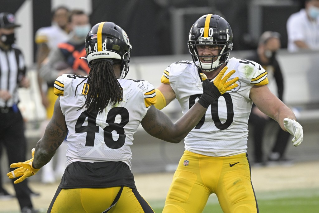 Pittsburgh Steelers linebacker Bud Dupree (48) and linebacker T.J. Watt, right, celebrate a big play against the Jacksonville Jaguars during the secon...