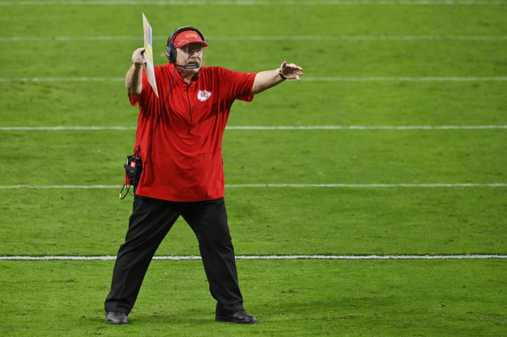 Kansas City Chiefs head coach Andy Reid reacts after a play against the Las Vegas Raiders during the second half of an NFL football game, Sunday, Nov....