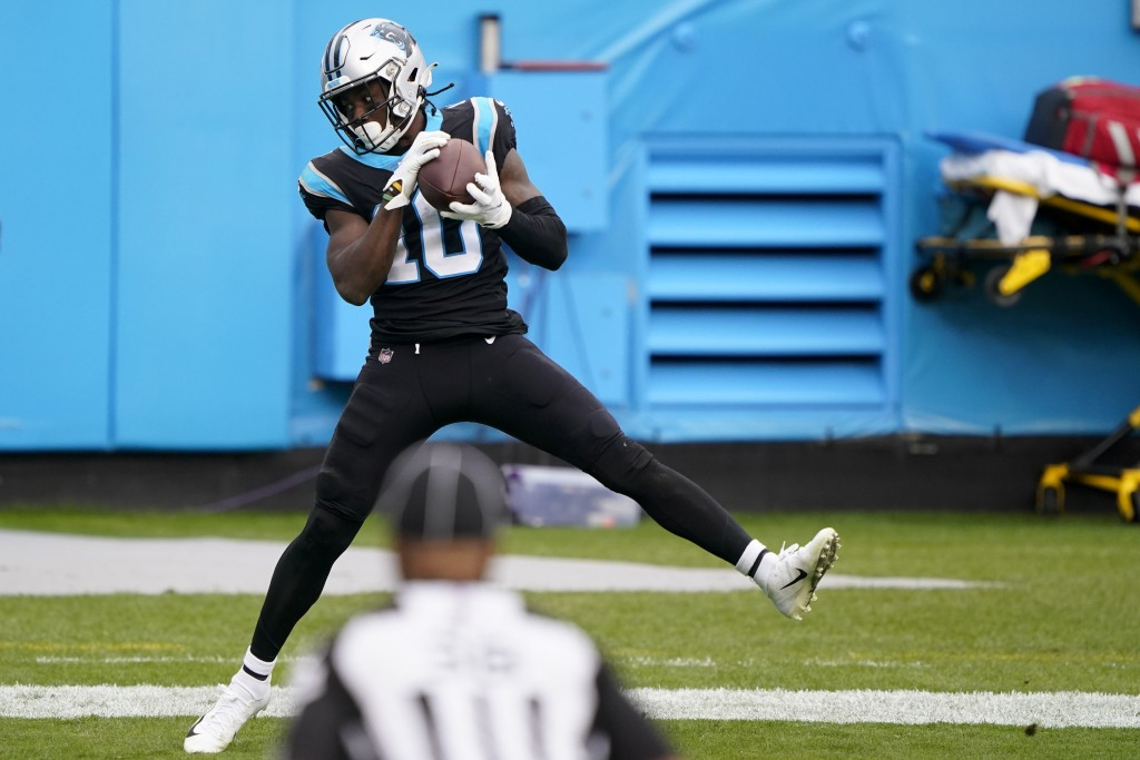 Carolina Panthers wide receiver Curtis Samuel catches a touchdown pass against the Detroit Lions during the second half of an NFL football game Sunday...