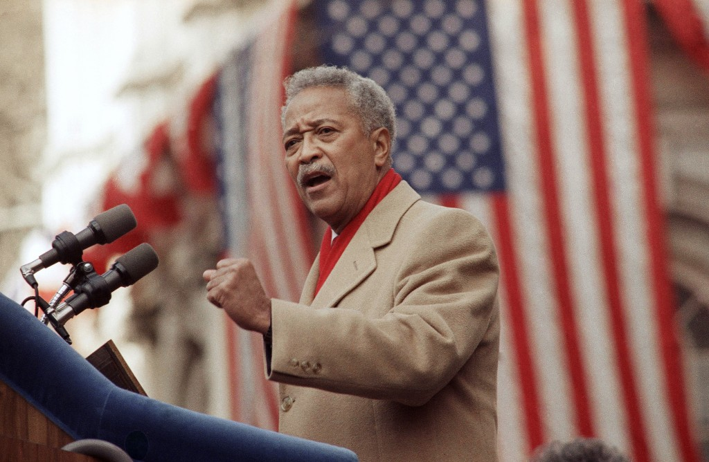 FILE - In this Monday, Jan. 2, 1990, file photo, David Dinkins delivers his first speech as mayor of New York, in New York. Dinkins, New York City's f...